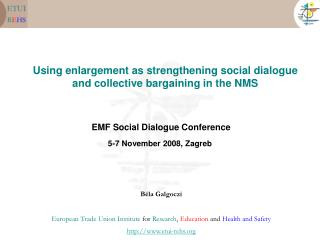 Using enlargement as strengthening social dialogue and collective bargaining in the NMS
