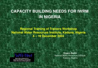 CAPACITY BUILDING NEEDS FOR IWRM IN NIGERIA