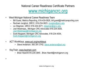 National Career Readiness Certificate Partners michigancrc