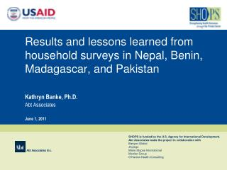 Results and lessons learned from household surveys in Nepal, Benin, Madagascar, and Pakistan