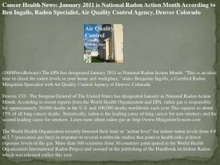 Cancer Health News: January 2011 is National Radon Action Mo