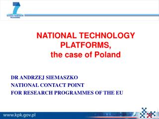 NATIONAL TECHNOLOGY PLATFORMS,  the case of Poland