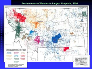 Service Areas of Montana's Largest Hospitals, 1994