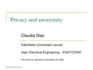 Privacy and anonymity