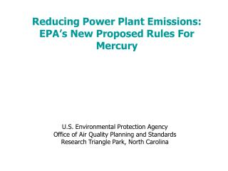 Reducing Power Plant Emissions: EPA's New Proposed Rules For Mercury