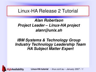 Linux-HA Release 2 Tutorial