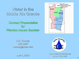Water in the  Middle Rio Grande Context Presentation for Placitas Issues Session