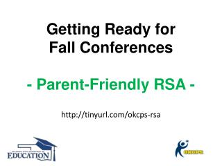 Getting Ready for Fall Conferences - Parent-Friendly RSA -