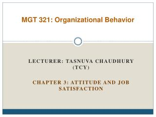 MGT 321: Organizational Behavior
