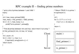RPC example II -- finding prime numbers