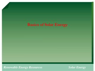 Basics of Solar Energy
