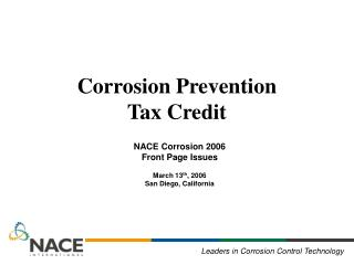 Corrosion Prevention  Tax Credit