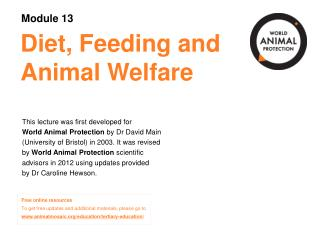 Diet, Feeding and Animal Welfare