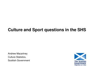 Culture and Sport questions in the SHS