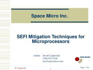SEFI Mitigation Techniques for Microprocessors