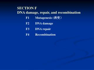 SECTION F  DNA damage, repair, and recombination