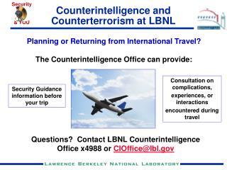 Counterintelligence and Counterterrorism at LBNL