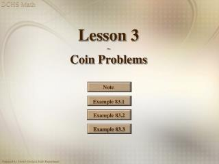 Lesson 3 ~ Coin Problems
