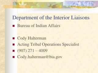 Department of the Interior Liaisons