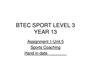 BTEC SPORT LEVEL 3 YEAR 13