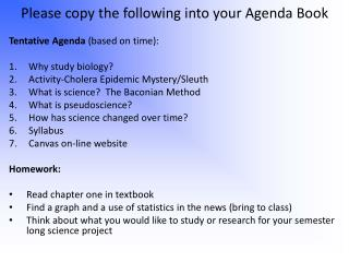 Please copy the following into your Agenda Book