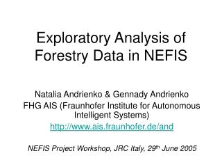 Exploratory Analysis of  Forestry Data in NEFIS