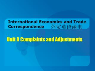 International Economics and Trade Correspondence
