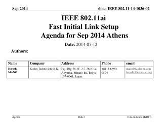 IEEE 802.11ai Fast Initial Link Setup  Agenda for  Sep 2014 Athens