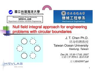 Null field integral approach for engineering problems with circular boundaries