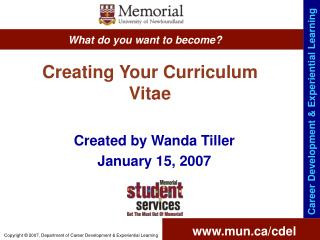Creating Your Curriculum Vitae