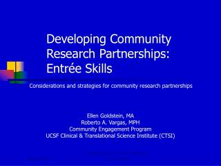 Developing Community Research Partnerships:  Entrée Skills