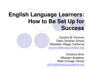 English Language Learners: How to Be Set Up for Success