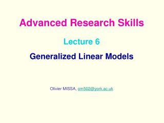 Lecture 6  Generalized Linear Models