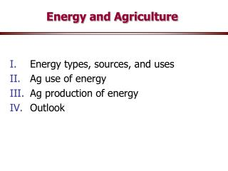 Energy and Agriculture