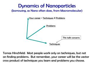 Dynamics of Nanoparticles  (borrowing, as Nano often does, from Macromolecular)