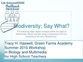 Biodiversity: Say What?