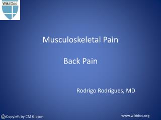 Musculoskeletal Pain Back Pain