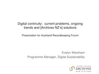 Evelyn Wareham Programme Manager, Digital Sustainability