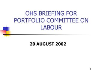 OHS BRIEFING FOR PORTFOLIO COMMITTEE ON LABOUR
