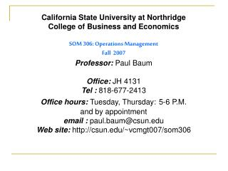 California State University at Northridge College of Business and Economics