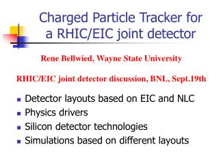 Charged Particle Tracker for a RHIC/EIC joint detector