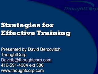 Strategies for Effective Training