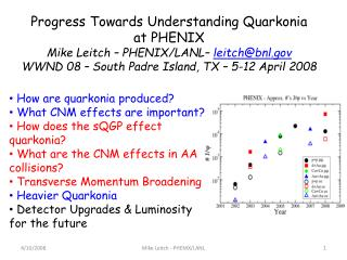 Progress Towards Understanding Quarkonia at PHENIX Mike Leitch – PHENIX/LANL–  leitch@bnl