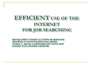 Efficient  Use  of  the Internet  for Job  searching