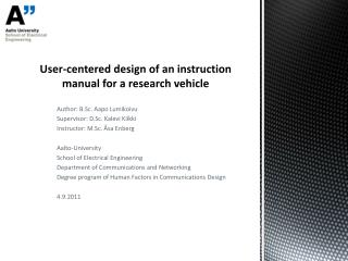 User-centered design of an instruction manual for a research vehicle
