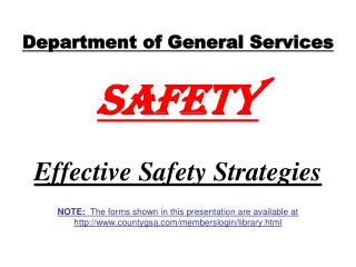 Department of General Services Safety Effective Safety Strategies