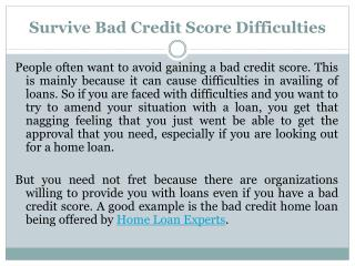 Survive Bad Credit Score Difficulties