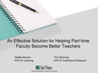 An Effective Solution for Helping Part-time Faculty Become Better Teachers