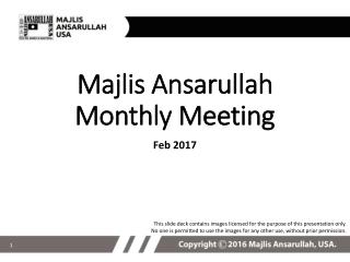 Majlis Ansarullah Monthly Meeting
