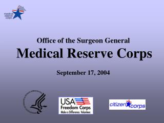 Office of the Surgeon General Medical Reserve Corps September 17, 2004